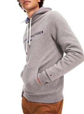 Sudadera Tommy Hilfiger Logo Hoody Gris Hombre