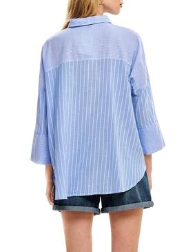 Camisa Only Grace Rayas Azul Mujer