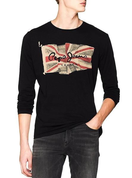 Pepe Jeans Flag-Logo L//S Camiseta de Manga Larga para Hombre