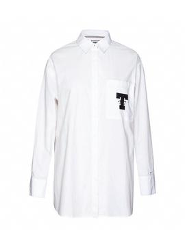 Camisa Tommy Jeans Solid Detail Blanco Mujer