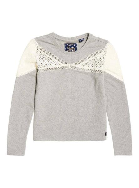 Top Superdry Zariah Lace Gris Mujer