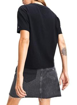 Camiseta Tommy Jeans Flag Negro Para Mujer