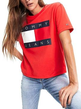 Camiseta Tommy Jeans Flag Rojo Para Mujer