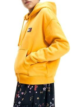 Sudadera Tommy Jeans Badge Hoodie Amarillo Mujer