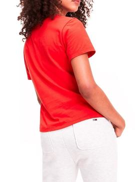 Camiseta Tommy Jeans Essential American Rojo Mujer