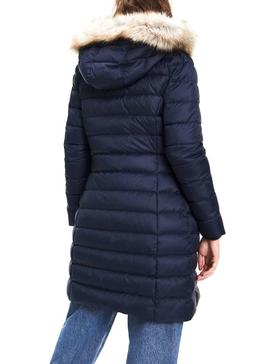 Abrigo Tommy Jeans Essential Hooded Marino Mujer