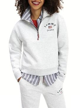 Sudadera Tommy Jeans Modern Logo Gris Mujer