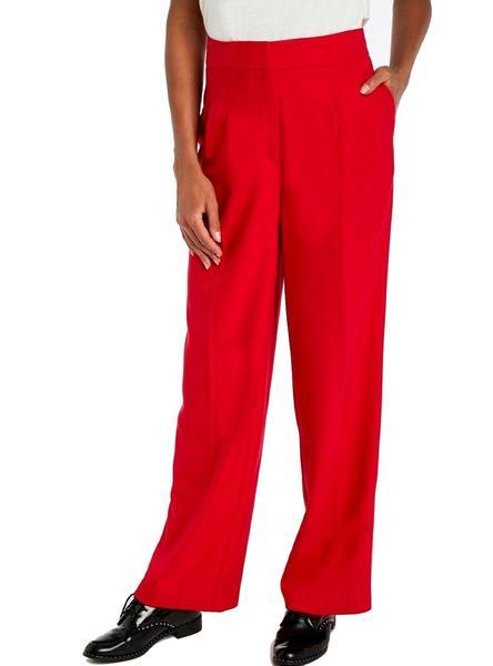 Pantalon Naf Naf Pinzas Rojo Para Mujer