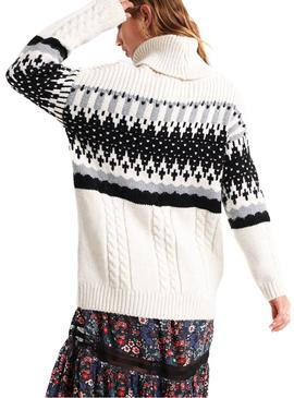Jersey Superdry Intarsia Blanco Mujer