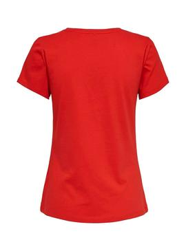 Camiseta Only Pacey Rojo Mujer