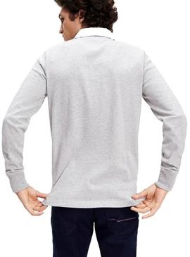 Polo Tommy Hilfiger Iconic Rugby Gris Para Hombre