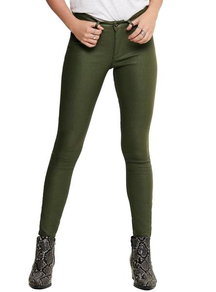 Pantalon Only Kendell Coated Verde Mujer