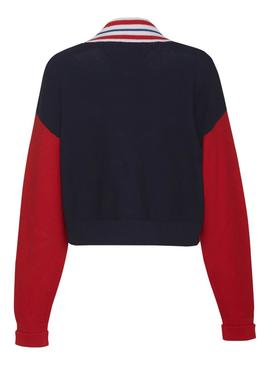 Cardigan Tommy Jeans Color Block Rojo Mujer