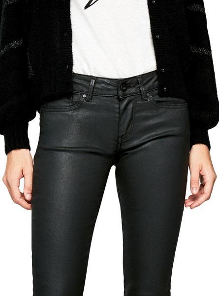 Pantalon Pepe Jeans Pixie Wax Negro Mujer