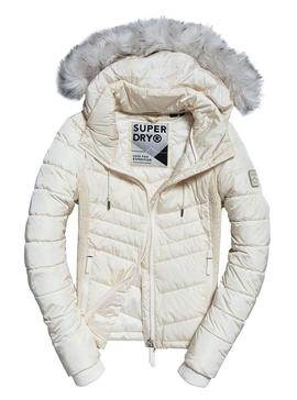 Chaqueta Superdry Luxe Fuji Beige Para Mujer