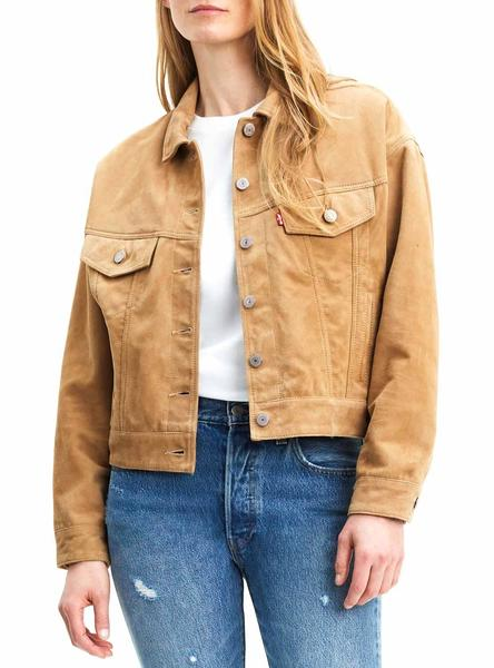 Cazadora Levis Suede Slouch Camel Mujer