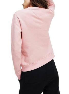 Sudadera Tommy Jeans Essential Logo Rosa Mujer