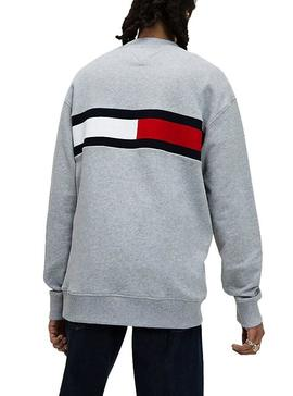 Sudadera Tommy Jeans Jacquard Flag Gris Hombre