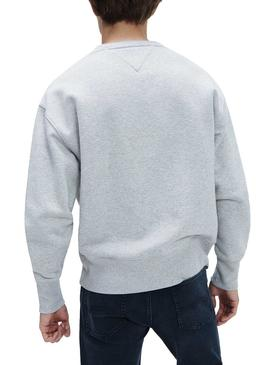Sudadera Tommy Jeans Badge Gris Para Hombre
