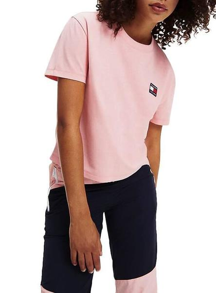 Camiseta Tommy Jeans Badge Cropped Rosa Mujer