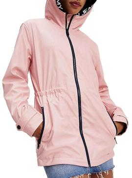 Chubasquero Tommy Jeans Tape Detail Rosa Mujer