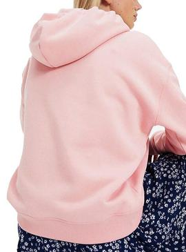 Sudadera Tommy Jeans Badge Hoodie Rosa Mujer
