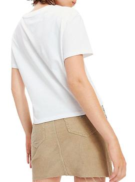 Camiseta Tommy Jeans Cropped Logo Blanco Mujer