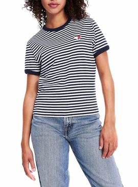 Camiseta Tommy Jeans Stripe Heart Para Mujer