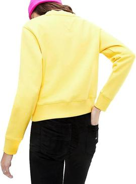Sudadera Tommy Jeans Flag Crew Amarillo Mujer