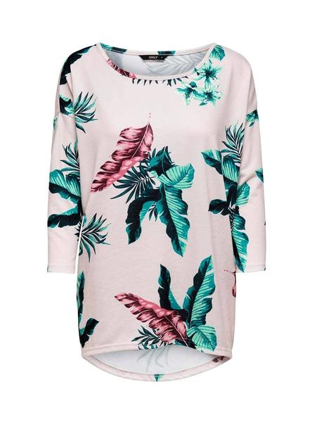 Camiseta Only Elcos Floral Rosa Para Mujer