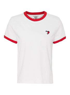 Camiseta Tommy Jeans Ringer Heart Blanco Mujer