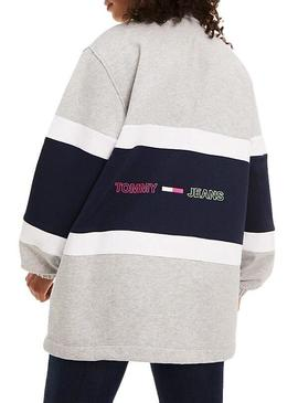 Sudadera Tommy Jeans Colorblock Mock Gris Mujer