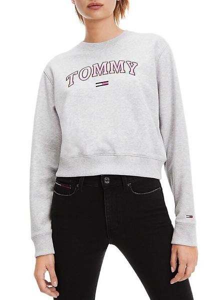 Sudadera Tommy Jeans Neon Outline Gris Mujer