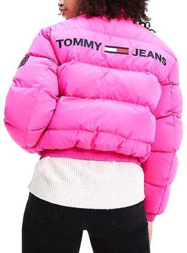 Cazadora Tommy Jeans Bomber Reversible Rosa Mujer