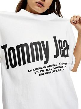 Camiseta Tommy Jeans Diagonal Blanco Mujer