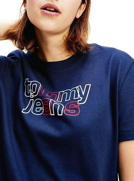 Camiseta Tommy Jeans Outline Azul Mujer