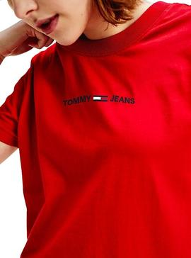 Camiseta Tommy Jeans Linear Rojo Mujer