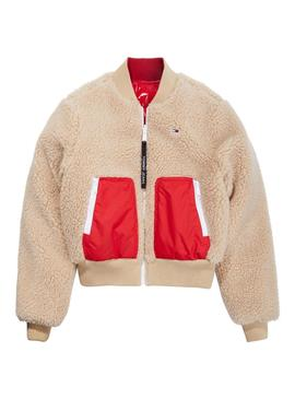 Bomber Tommy Jeans Reversible Rojo Mujer