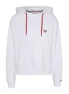 Sudadera Tommy Jeans Neck Blanco Mujer