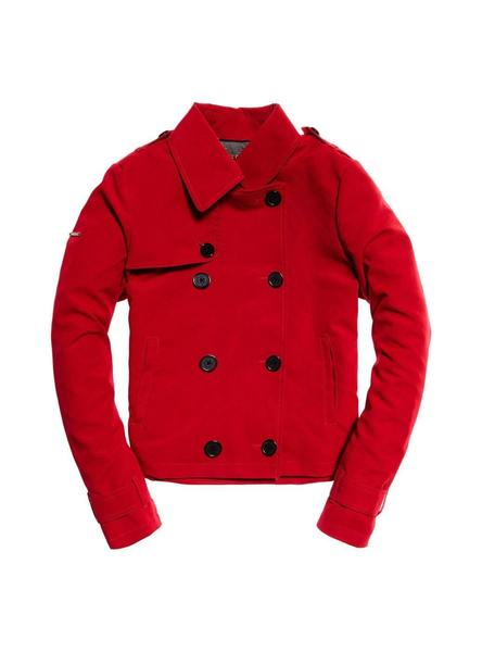 Trench Superdry Cropped Azure Rojo Para Mujer