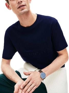 Camiseta Lacoste Embroidered Azul Hombre