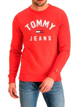 Sudadera Tommy Jeans Essential Flag Rojo Hombre