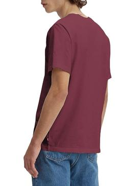 Camiseta Levis Relaxed Serif Granate Hombre
