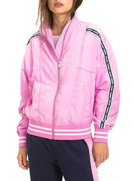 Bomber Tommy Jeans Tape Rosa Mujer