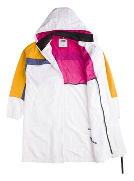 Parka Tommy Jeans Long Color Block Blanco Mujer