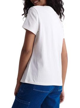 Camiseta Superdry Elite Orange Label Blanco Mujer