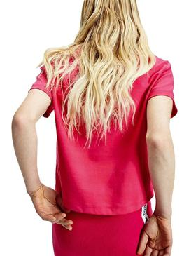 Camiseta Tommy Jeans Parche Cropped Rosa Mujer