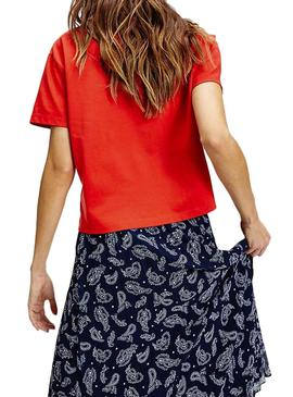 Camiseta Tommy Jeans Parche Cropped Rojo Mujer