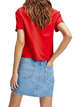 Camiseta Tommy Jeans Flag Rojo Mujer