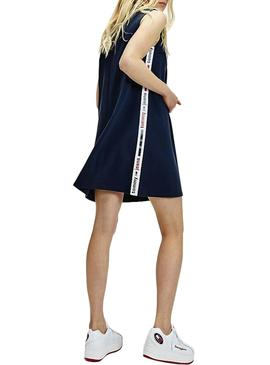 Vestido Tommy Jeans Tape Detail Marino Mujer